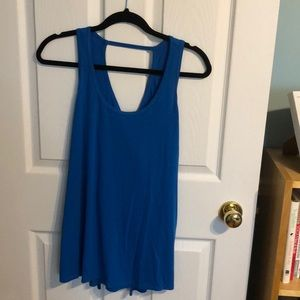 Blue twist & open back tank top